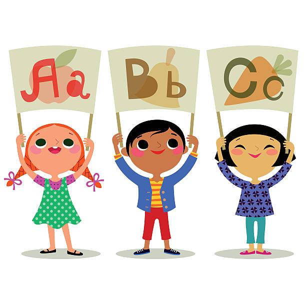 bildbanksillustrationer, clip art samt tecknat material och ikoner med children with letters broadsheet. - förskolebyggnad