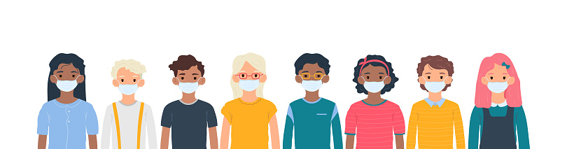 Children with medical masks on faces to protect their against coronavirus covid-19, 2019-nCov isolated on white background. Kids virus protection concept. Stay safe. Vector illustration