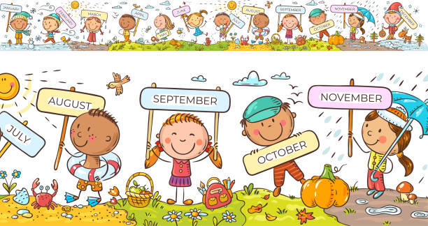 Children with months signs and changing weather and seasons, a long horizontal border or frame vector art illustration