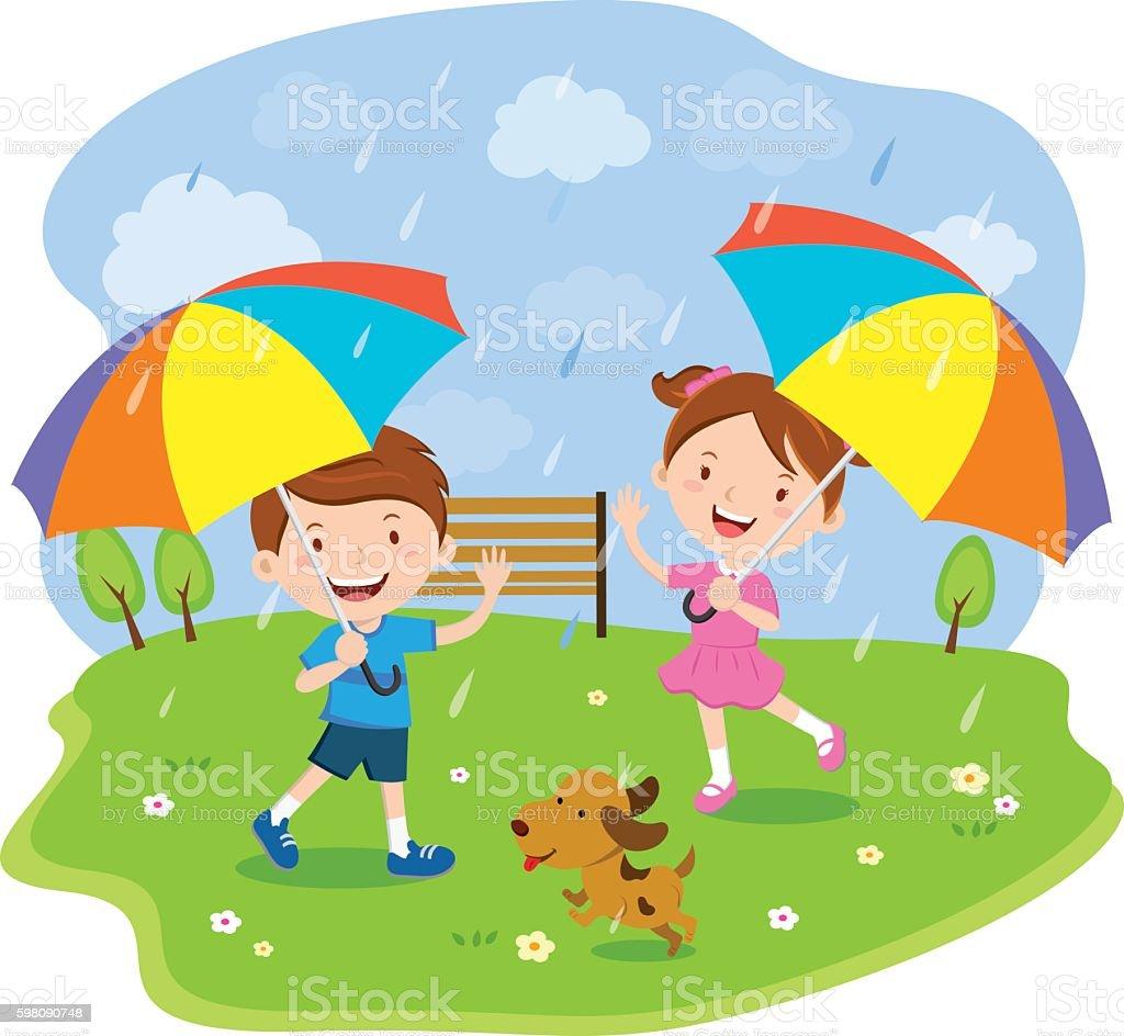 Children with multicolored umbrellas vector art illustration