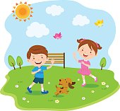 Vector illustration of a little boy and girl enjoy sunny day.