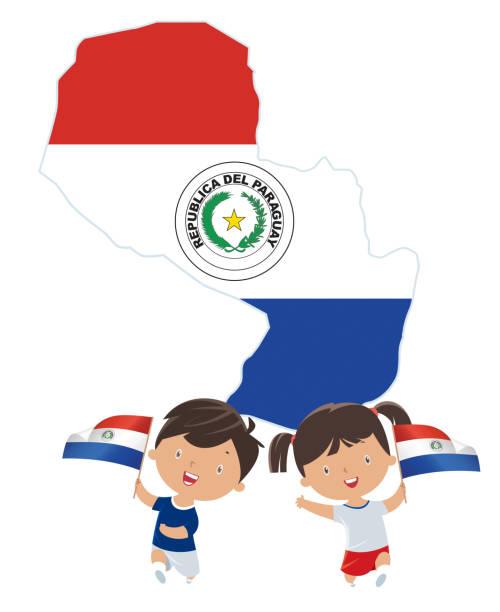 Niños con las banderas de Paraguay - ilustración de arte vectorial