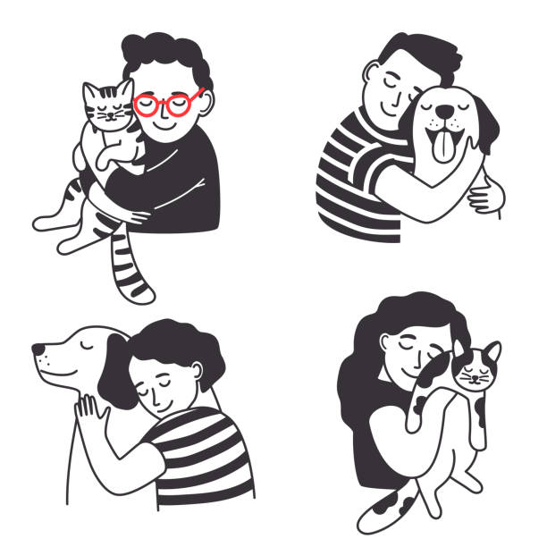 Children with pet set Children with pet set. Home animals love kids, children pettings and hug for cute cat and happy puppy, sketch of cartoon smile isolated on white background, vector illustration pets and animals stock illustrations
