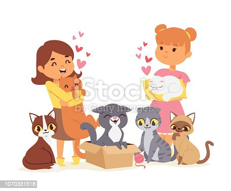 Children with pets adopt friendship concept poster vector illustration. Friendly shelter domestic little animals and their best friends banner. Cute kids love girls cat adoption flyer.