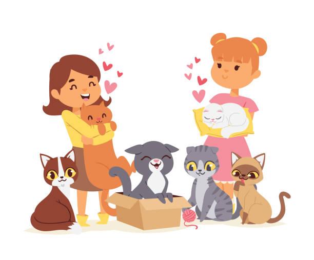 stockillustraties, clipart, cartoons en iconen met kinderen met huisdieren vast vriendschap concept vectorillustratie. love child kat goedkeuring. - adoptie