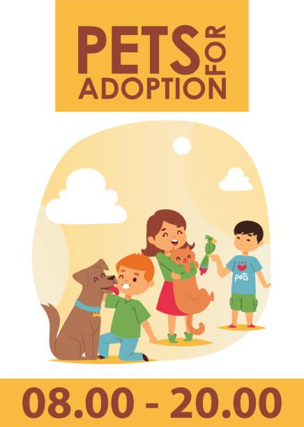 stockillustraties, clipart, cartoons en iconen met kinderen met huisdieren vast vriendschap poster vectorillustratie. love child de aanneming van hond en kat. - adoptie