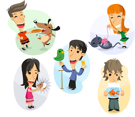 Children with pets dog cat mouse bird fish
