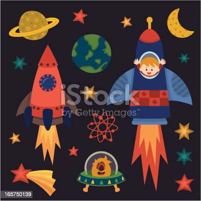 children with rocket in space