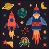 istock children with rocket in space 165750139