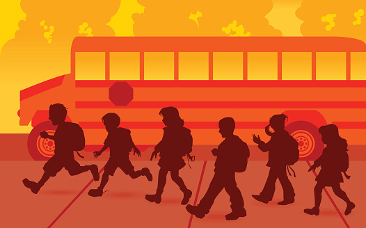 Children with school bus