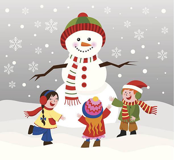 Children with snowman vector art illustration