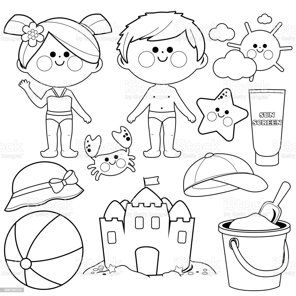Children with swimsuits and beach summer vacation design elements. Black and white coloring book page vector art illustration