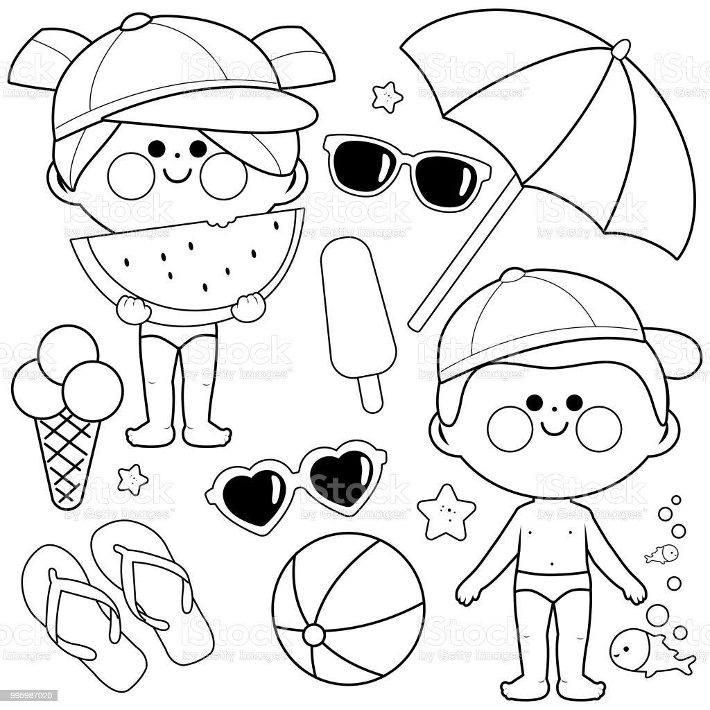 Ilustración De Niños Con Sombreros Y Trajes De Baño Elementos De