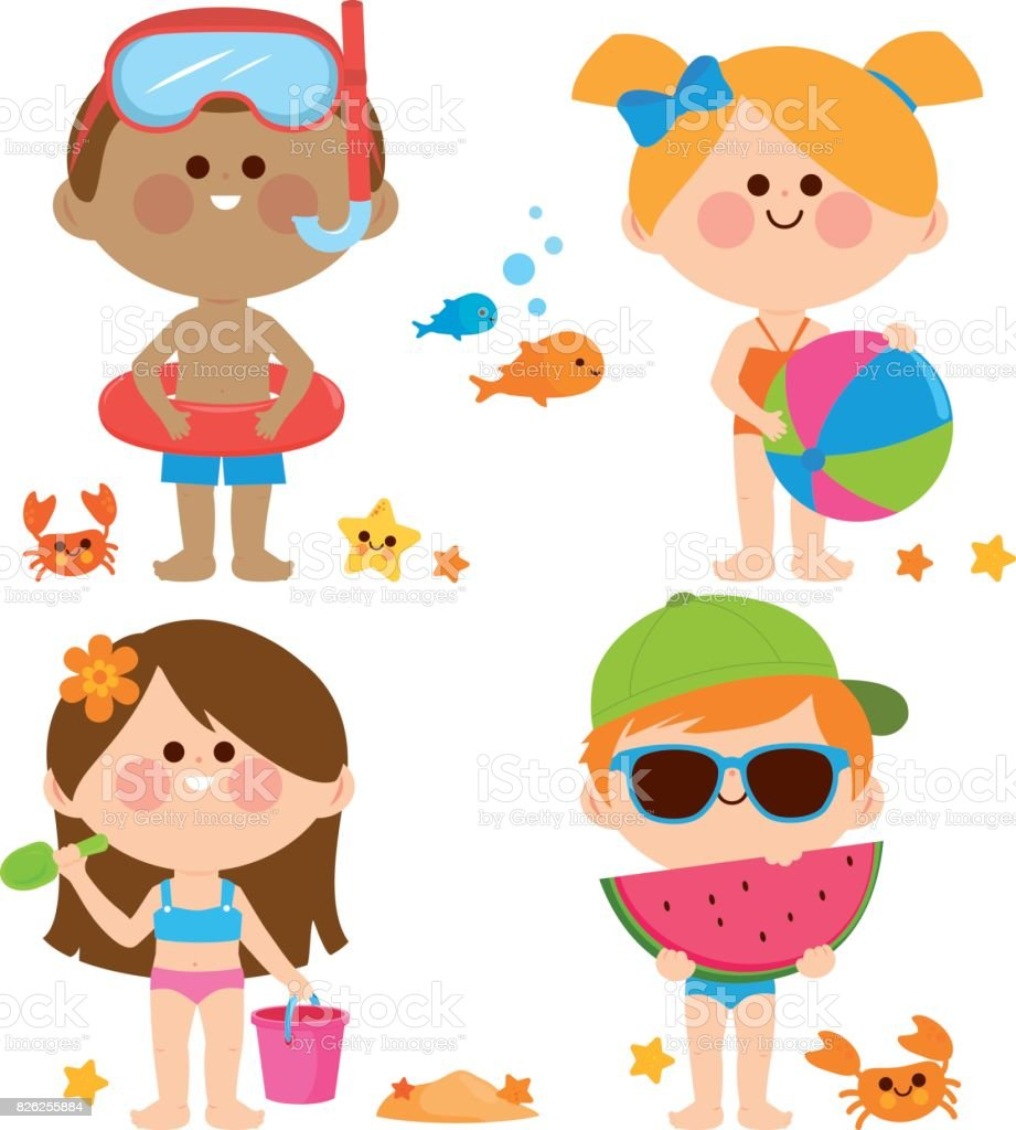 Children with swimsuits playing at the beach. Vector collection vector art illustration