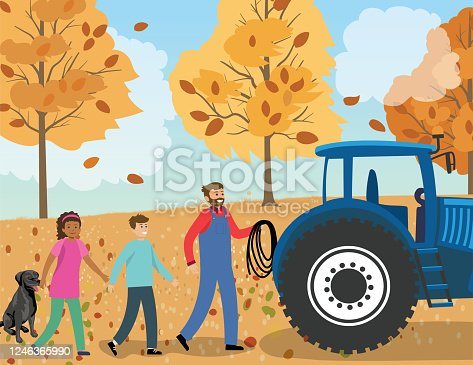 istock Children With Their Father In The Yard 1246365990