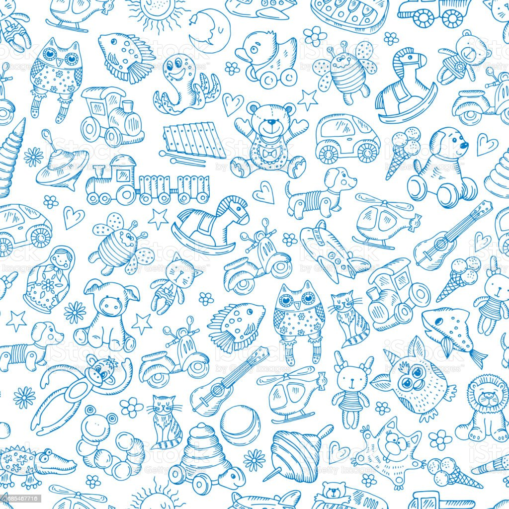 Children With Toys Seamless Pattern With Vector Hand Drawn ...