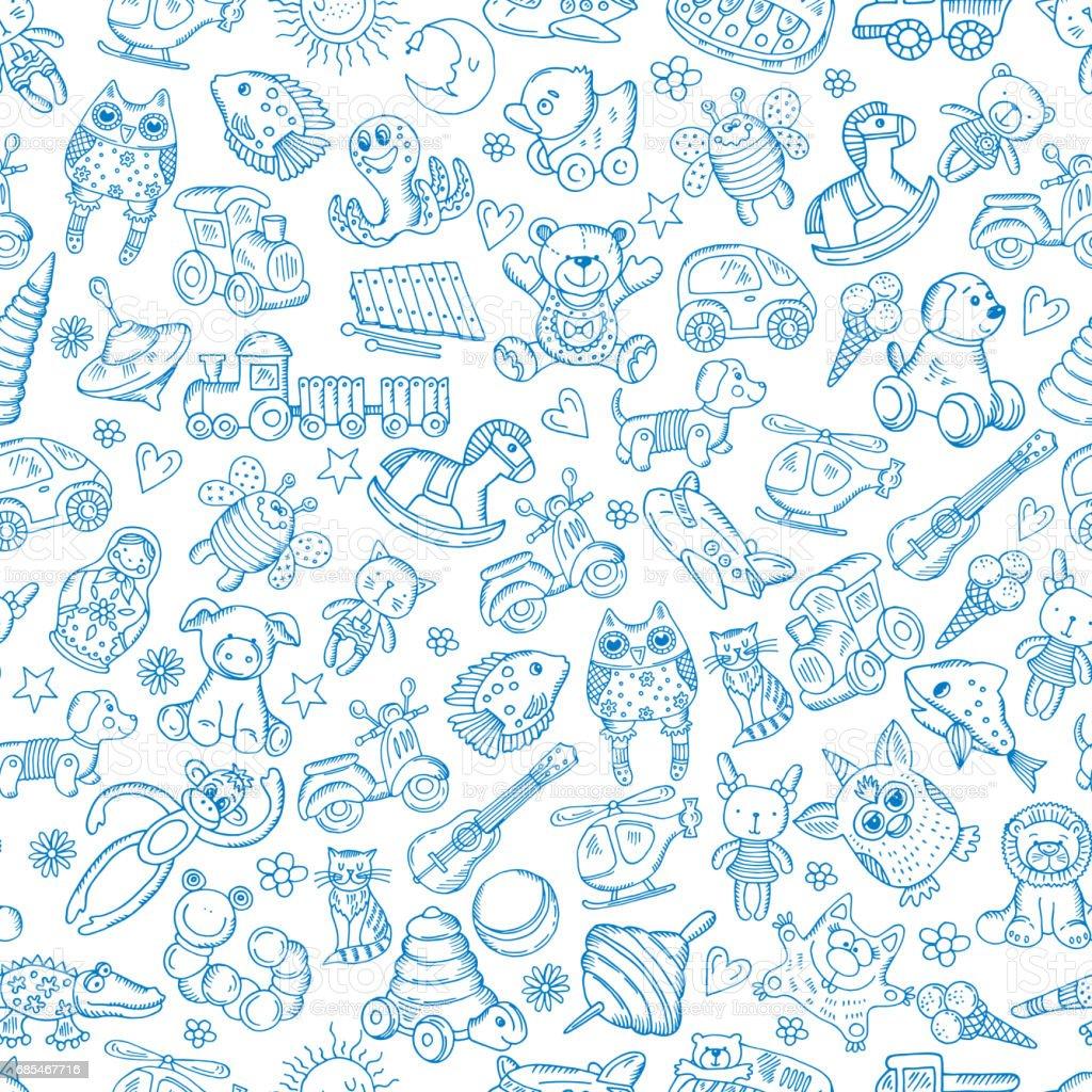 Children with toys. Seamless pattern with vector hand drawn illustration - ilustração de arte em vetor