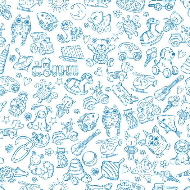 stockillustraties, clipart, cartoons en iconen met kinderen met speelgoed. naadloos patroon met vector hand getekende illustratie - baby toy