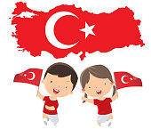 Children with Turkey flags