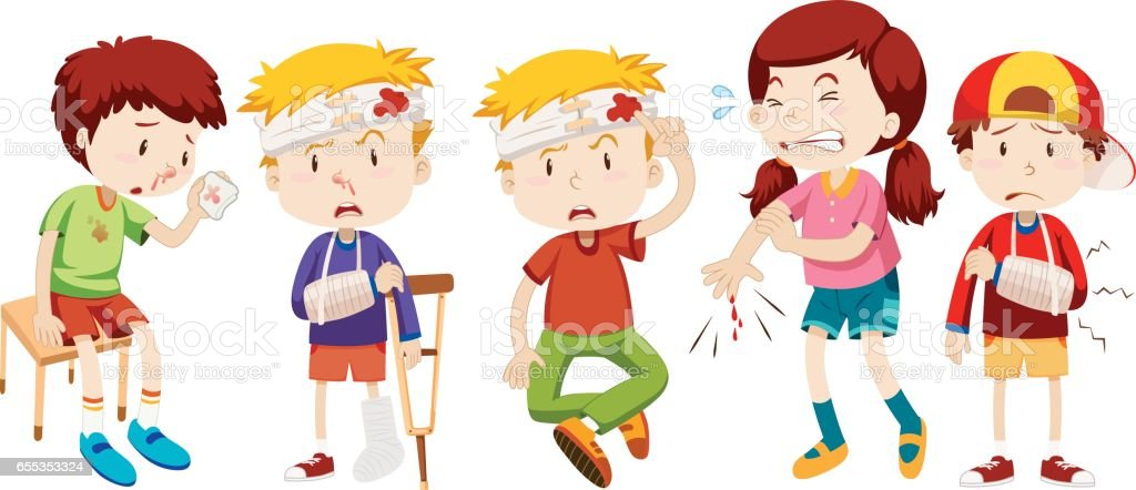 Children with wounds from accident vector art illustration