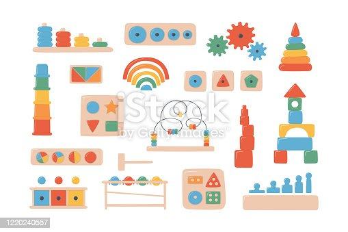 Children wooden toys for Montessori games. Education logic toys for preschool kids.