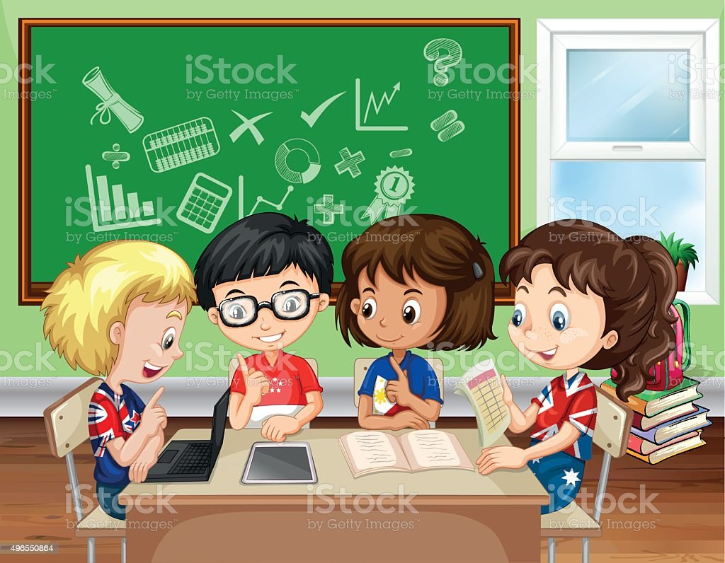 Children working in group in the classroom vector art illustration