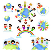Children world vector happy kids on planet earth in peace and worldwide earthly friendship illustration peaceful childish set of boys or girls together isolated on white background.