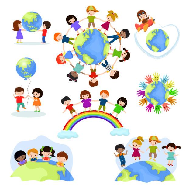 兒童世界向量快樂的孩子在地球上和平和世界各地的友誼例證和平孩子氣的男孩或女孩一起孤立的白色背景 - 國際比賽 幅插畫檔、美工圖案、卡通及圖標