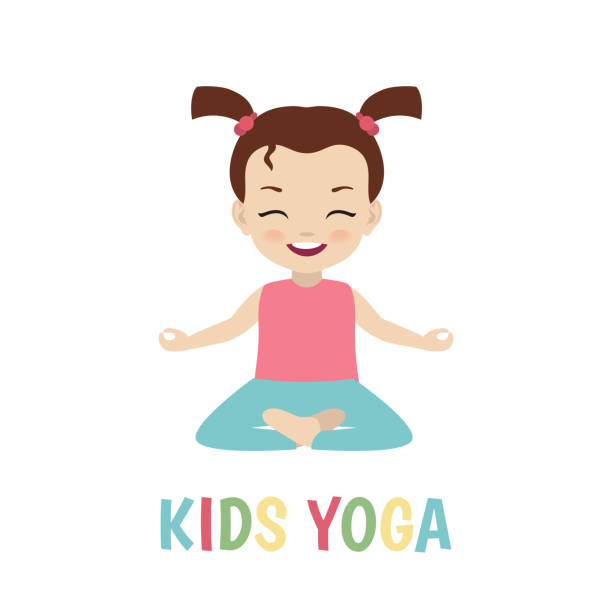 Children Yoga Logo Vector Art Illustration