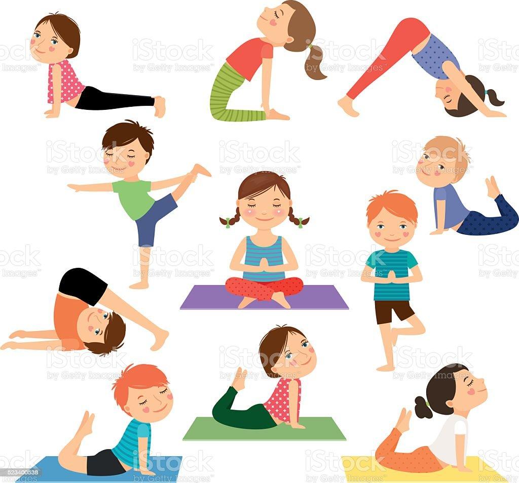 Niños de Yoga Vector de - ilustración de arte vectorial