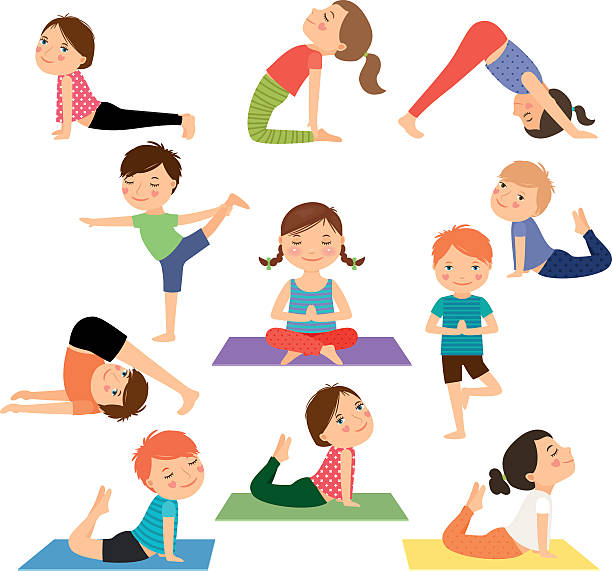 children yoga vector - gymnastics stock illustrations, clip art, cartoons, & icons
