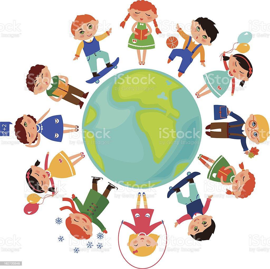 children_around_the_world royalty-free stock vector art