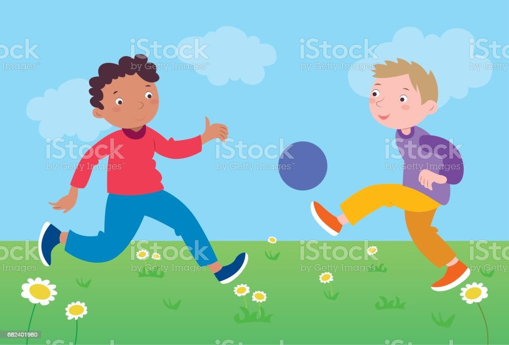 Children_play_football royalty-free childrenplayfootball stock vector art & more images of 6-7 years