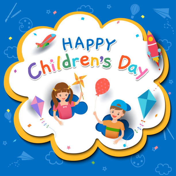 Children-day-poster Happy Children's Day with boy and girl playing toys on background. day stock illustrations
