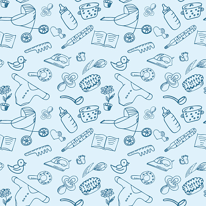 Childrens accessories. Household elements. Seamless pattern for baby shower. Packaging paper for kids goods