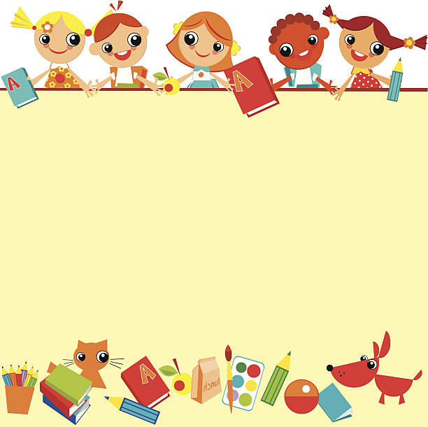 children's background - primary school stock illustrations, clip art, cartoons, & icons