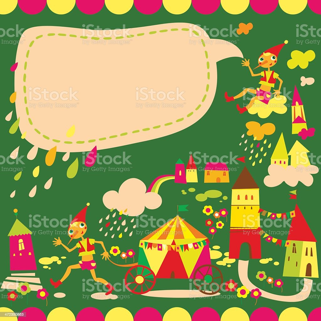Children's background with speech bubble. Multicolored houses. royalty-free stock vector art