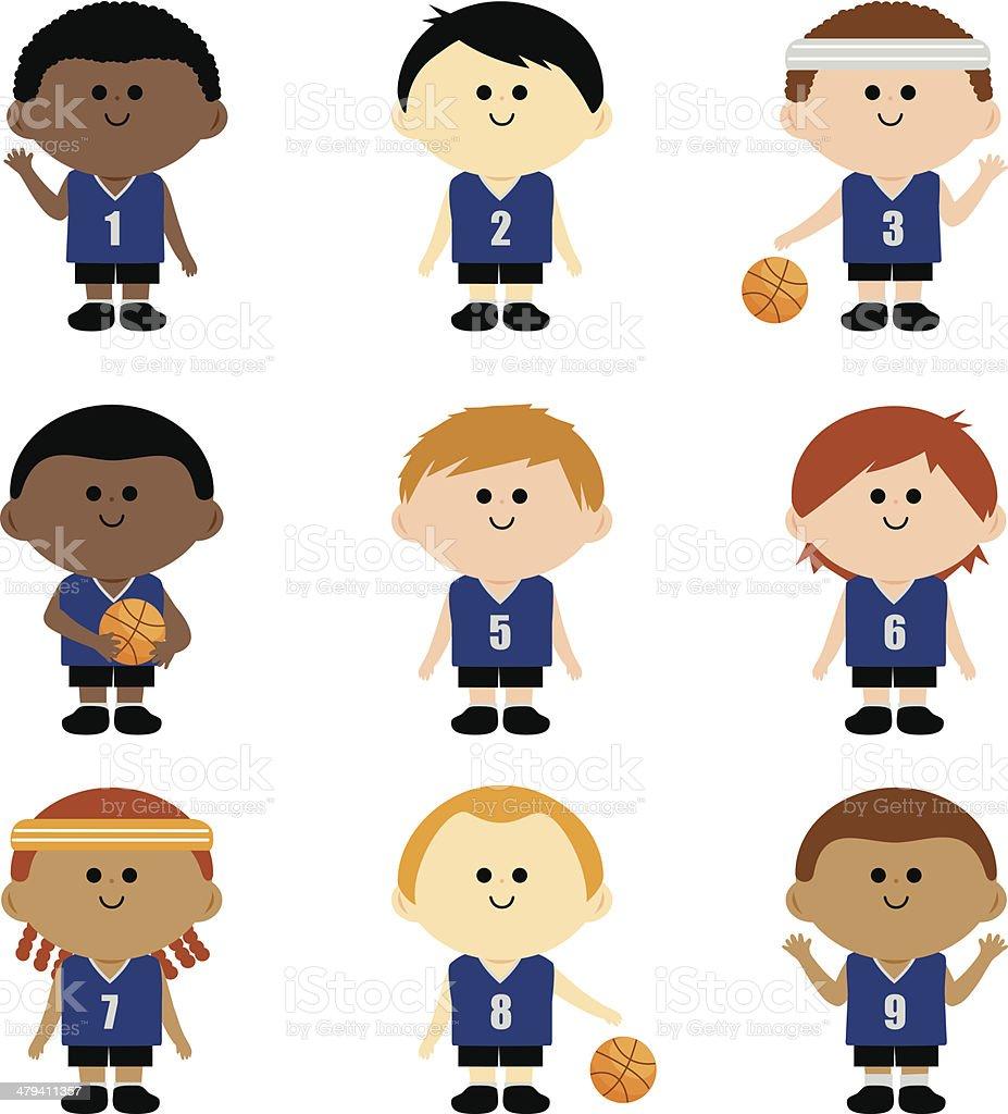 Children's basketball team vector art illustration