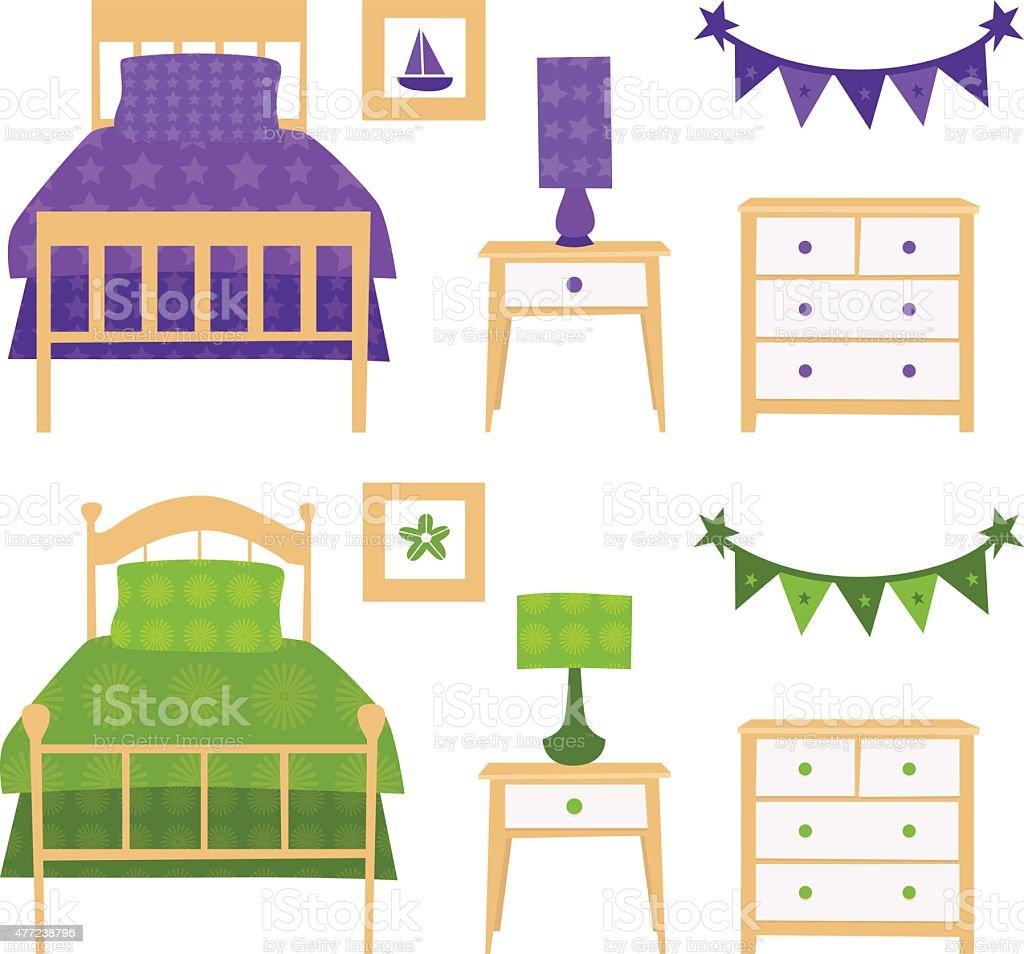 Childrens Bedroom Furniture Set Stock Vector Art More Images Of
