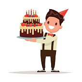 Children's birthday.  Boy holding a large cake. Vector illustrat
