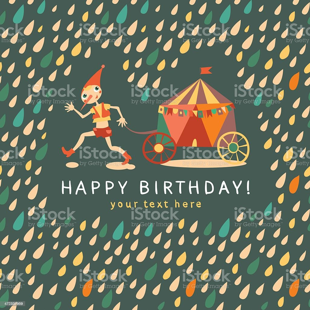 Childrens birthday card. Dark background with multi-colored drops vector art illustration