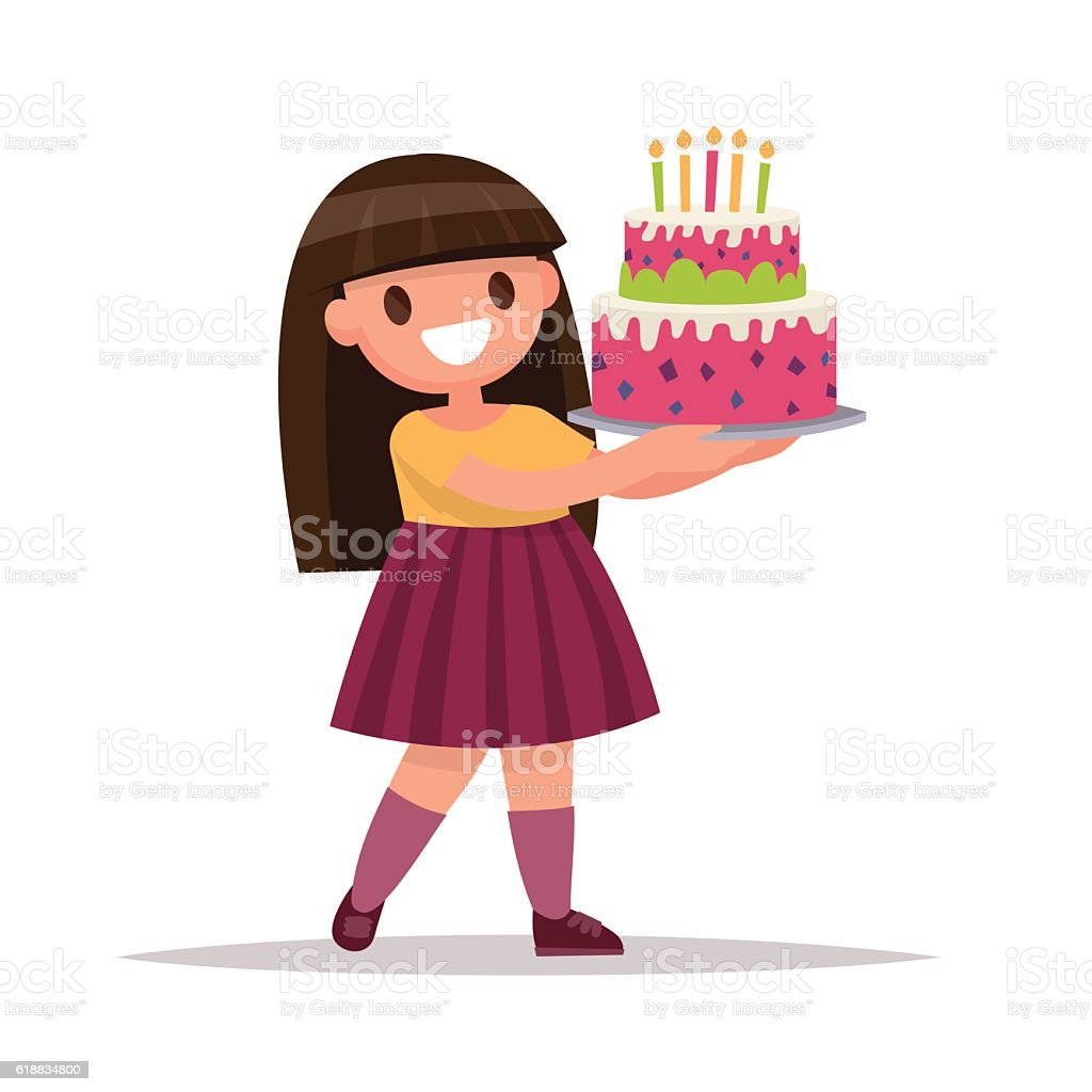 Childrens Birthday Girl Holding A Large Cake Vector Illustra Stock
