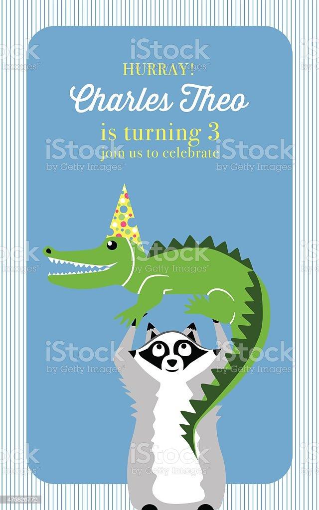 Ilustración De Invitación Tarjeta De Cumpleaños Para Niños