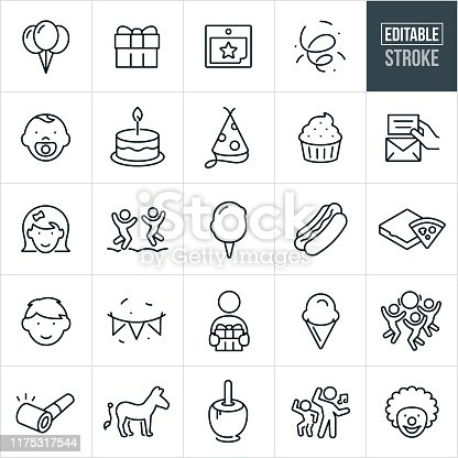 A set of children's birthday party icons that include editable strokes or outlines using the EPS vector file. The icons include a toddler, little girl and little boy celebrating birthday parties. They include balloons, gift, calendar, confetti, birthday cake, party hat, cupcake, invitation, playing, games, cotton candy, hotdog, pizza, party banner, ice cream cone, party horn, pin the tail on the donkey, caramel apple, dancing and a clown.