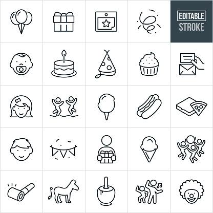 Children's Birthday Party Thin Line Icons - Ediatable Stroke
