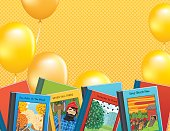 Children's Books Background Border. A row of story books are placed around the outer edge. The yellow striped background has lots of copy space. The books have cover picture and titles but are fictional.
