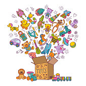 Childrens box for toys. Doodle pictures vector illustration. Children toys collection, color kids toys in box