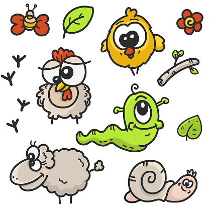 children's cartoon drawings set on the theme of the garden with the image of farm animals and plants