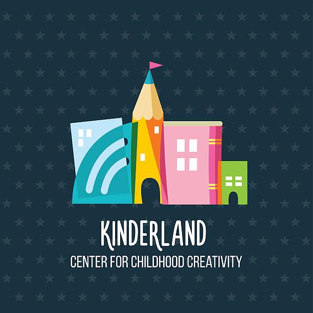 bildbanksillustrationer, clip art samt tecknat material och ikoner med children's center emblem. - förskolebyggnad