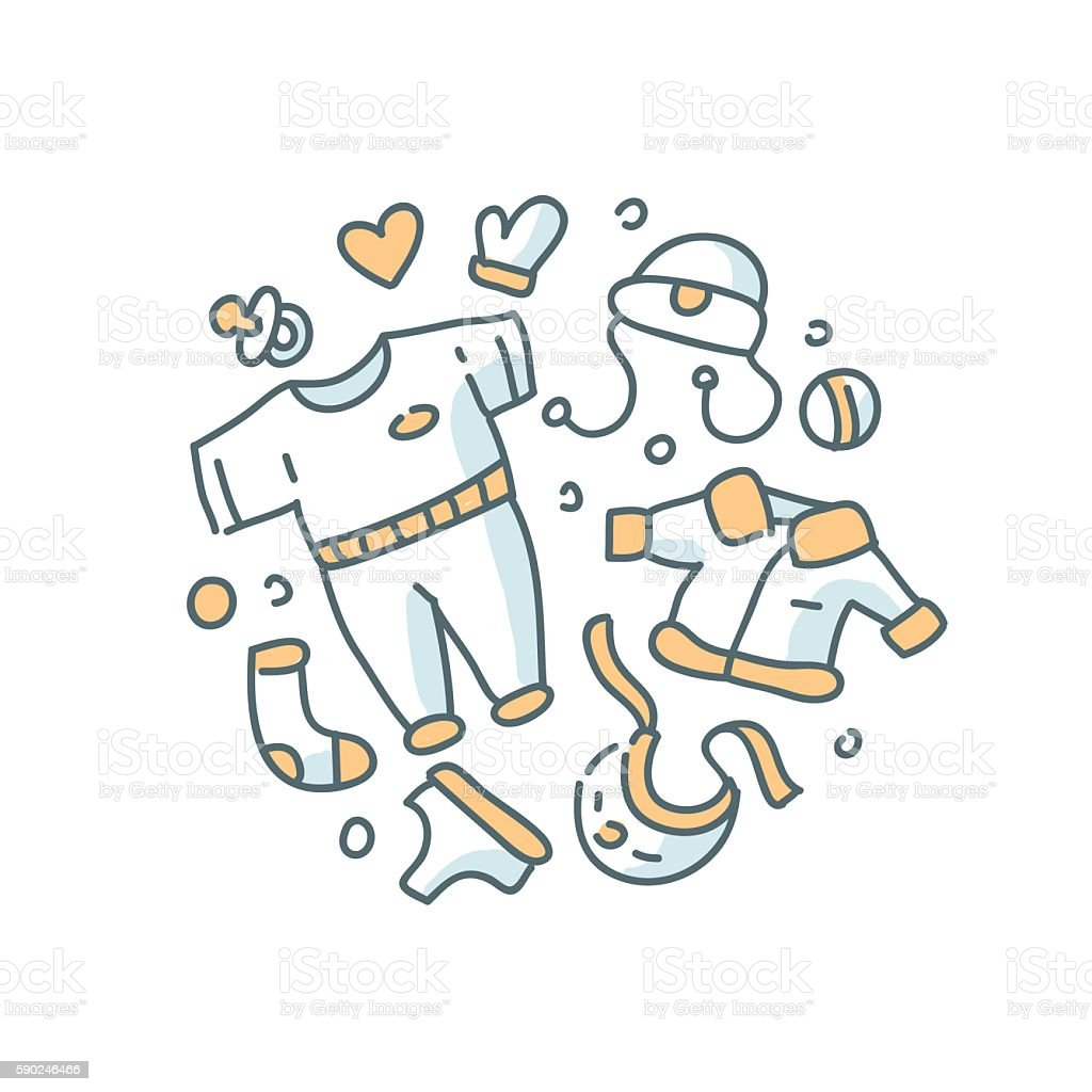 Children's clothes illustration on white background vector art illustration